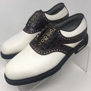 FootJoy Classics Tour 51724 White Brown Golf Shoes